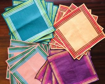 Striped Linen Napkins. Casual napkins. zero waste. eco friendly living. block printed. eco friendly home. reusable lifestyle.