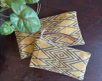 Linen Pouch. geometric print. colorful pouches.