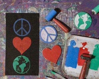 Peace Love Earth Banner. Earth Conscious. Protect the planet. Canvas Banner. Block printed. Handmade Decor. Earth Lover.