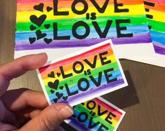 Love is Love Print and Sticker.  water color and block print. rainbow.