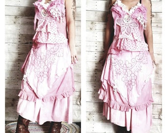 a3df100b7 Pink Sunshine Shabby cutwork romantic country girl asymmetric floral layered  peasant rustic country ruffled Boho altered mori maxi Dress