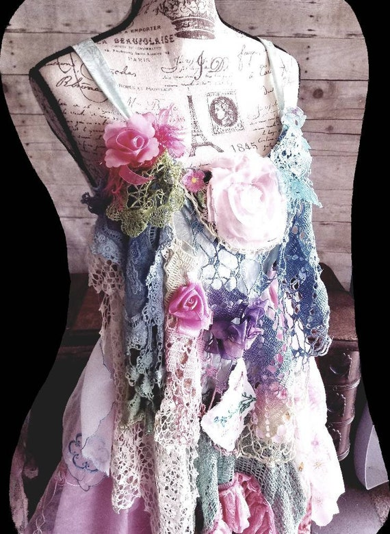 Sunshine layered textile art S art fairy maxi M dress floral to lace wear ruffle Shabby Boho rustic goddess RESERVED gypsy embellished Pink 5zvPpp