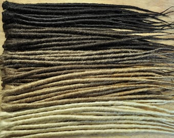 Dreadlock Extensions x 10 dreads, Single Ended and Backcombed, 20inch/50cm Long, 10mm thick