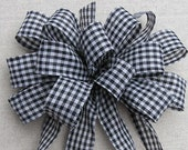 Black and White Checkered Bow, Bow for Wreath in Black and White Checker, Country Door Bow, Decorative Gift Bow, Bow for Home Decor,