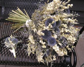 Blue Thistle Bouquet Etsy