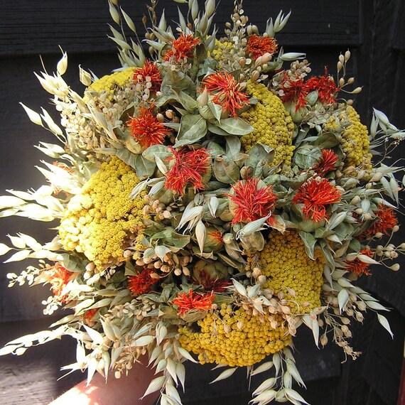 Bouquet de fleurs séchées de mariage pour l\u0027automne, bouquet séché de  mariée d\u0027automne, bouquet de demoiselles d\u0027honneur, bouquet orange et  jaune,