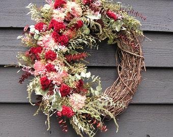 Summer Wreath, Dried Flower Wreath, Wreath for Indoor, Spring Wreath, Dried Flowers, Door Decor, Dried Country Wreath, Wreath for Inside