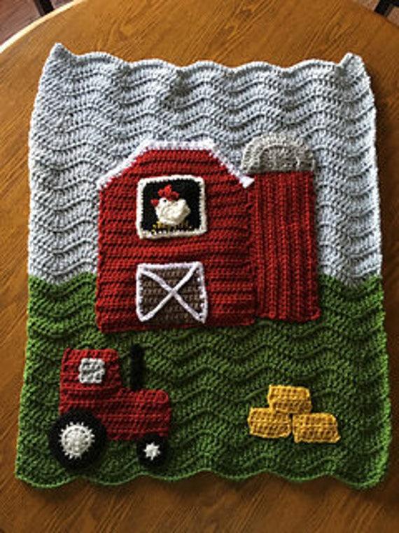 Crochet Pattern Red Barn Farm Crochet Blanket Throw Etsy