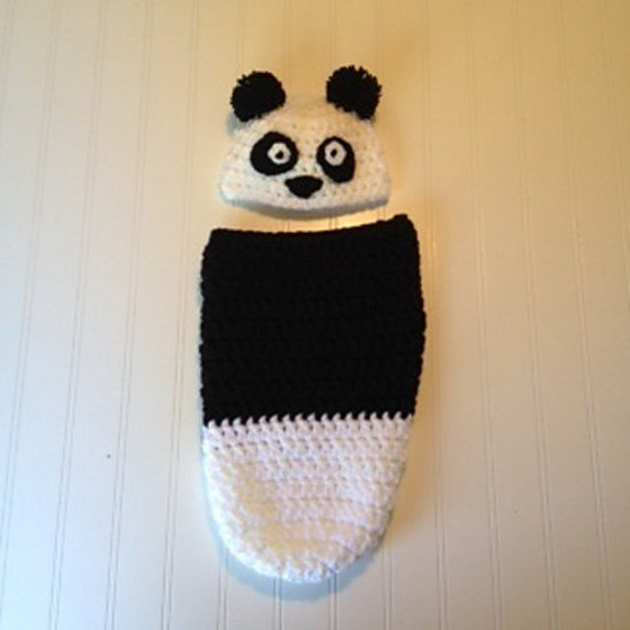 Crochet Pattern Newborn Baby Panda Hat And Cocoon Sack Etsy