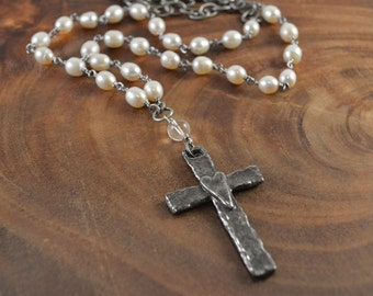 Bohemian Cross Necklace, Freshwater Pearl, White Pearls, Pewter Pendant, Boho Necklace, Bohemian Necklace, Pearl Necklace