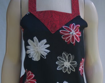 Apron - Red and Black Retro Flowers With Pocket - One Size Fits All