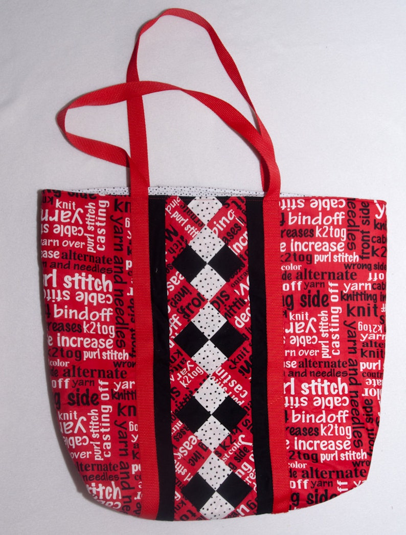 Quilted Project & Tote Bag  Knitting Terms Large image 0