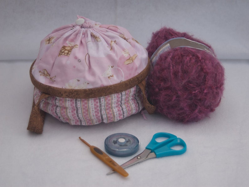 Pink Lullaby Small Project Bag/Knit Yarn Crochet/Basket/Purse image 0