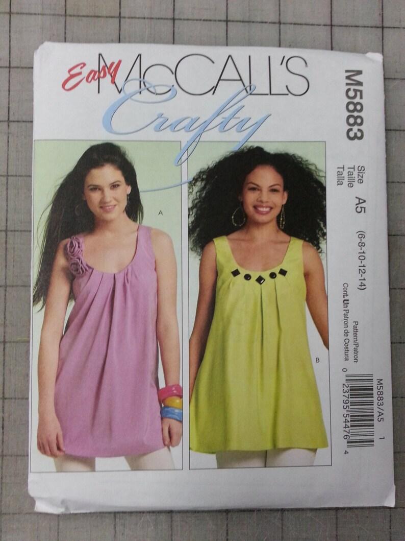 Unused McCall's Sleeveless Shirt Pattern M5883  Size 6-14 image 0