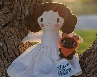 Handmade Leia Doll with her little companion