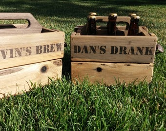Wooden Vintage Crate - Beer Carrier for 6 (six) Bottles with Opener- Homebrew Caddy - Groomsmen Gift - Bottle Carrier and Caddy