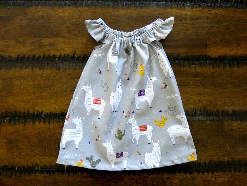 0a0f2c34 Baby girl clothes / Organic baby clothes / Llama baby dress / | Etsy