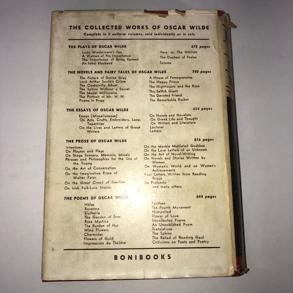 Oscar Wilde The Essays Of Oscar Wilde First Issued In Bonibooks Series September 1935