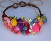 Baby Day of the Dead Flower Crown - Baby Frida Kahlo Flower Crown - Mexican Festival Crown - Fiesta Headpiece - Dia de los Muertos Headpiece