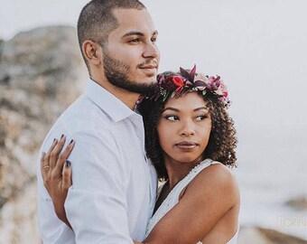 Tropical Flower Crown - Orchid & Blueberry Crown - Bridal Flower Crown - Vibrant Hair Wreath - Beach Wedding Crown- Engagement Photos