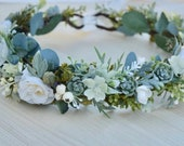 Succulent Rose Flower Crown - Ivory Bridal Crown - Succulent Bridal Crown - Succulent Halo - Bridal Hair Piece - Photo Prop Crown