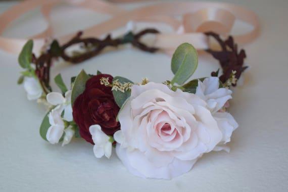 Blush burgundy white flower crown blush flower girl etsy image 0 mightylinksfo