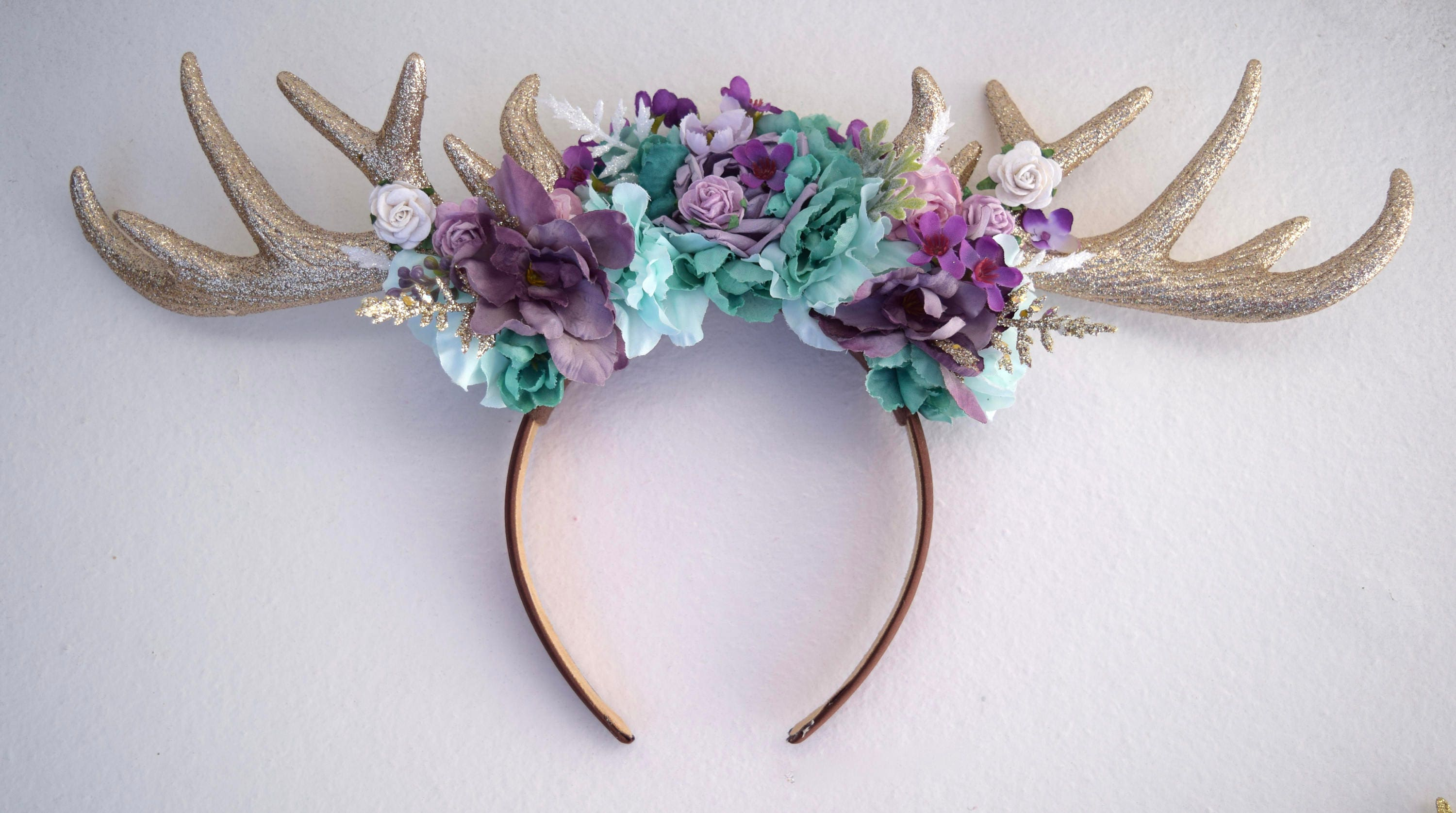 Floral Deer Antler Headband Halloween Deer Antler Headpiece  5f73b5b48a9