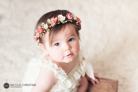 Rose Gold Baby Flower Crown Dusty Rose Crown Cake Smash Floral Hair ... 155c82f89e9