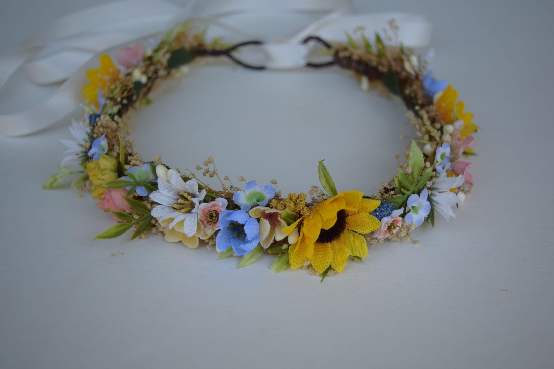 Sunflower wild daisy flower crown cornflower blue and etsy zoom izmirmasajfo