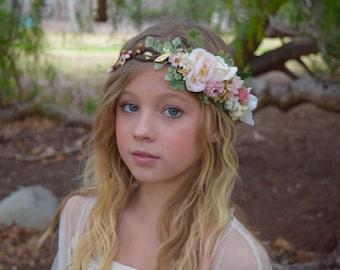 Blush Pink Flower Crown - Flower Girl Crown - Photo Prop - Bridal Flower Crown- Blush Hair Wreath - Pink Baby Flower Crown