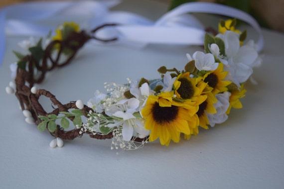 Sonnenblume Blumenkranz Rustikale Braut Halo Sonnenblume Etsy