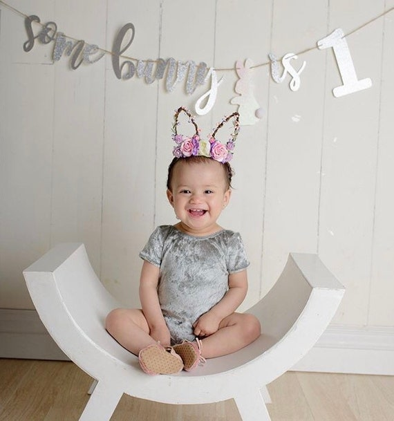 Bunny Ear Flower Headband Baby Girl Floral Bunny Ears  adf7840f42c