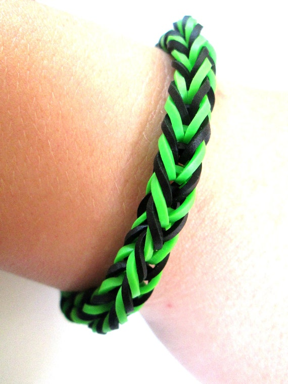 Items Similar To Rainbow Loom Bracelet Black And Green