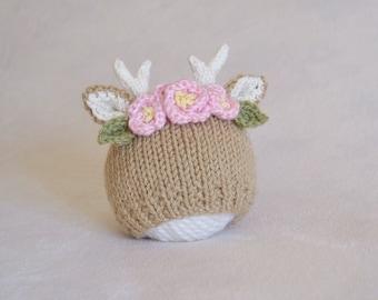 Herten bloem kroon Baby Hat - Fawn met bloemen foto Prop hoed - pasgeboren herten met bloemen hoed - klaar om schip