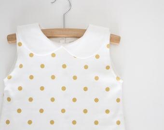 Gold Polka Dot Girls Collar Dress, Girls Tank Dress, Peter Pan Collar Dress, Baby Dress, Gold Dress, Toddler Dress, Birthday, Organic Baby