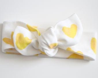 Knot Headbands, Yellow Heart Headband, Head Wrap, Turban, Baby Headband, Toddler Headband, Kids Headband, Hair Accessory