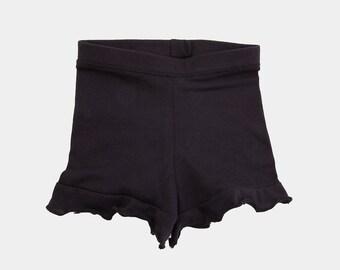 Black Ruffle Girls Shorts, Baby Shorts, Toddler Shorts, ruffle bloomer, ruffle shorties, Organic Shorts, Toddler ruffle shorts, Yoga Shorts