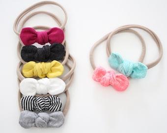 Nylon Bow Headband, Baby Hair bows, Girls Hair Bow, one size baby headband, knotted fabric bow, newborn headband, newborn photo prop