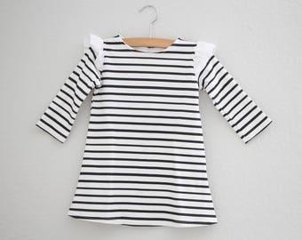 Girls Striped Dress, Peter Pan Collar Dress, Holiday Dress, Organic Dress, Long Sleeve Dress, Baby Dress, Toddler Dress, Kids Dress, black