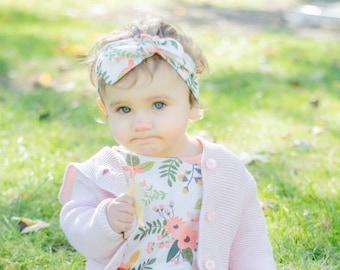 Organic Floral Knot Headband, Head Wrap, Turban, Baby Headband, Toddler Headband, Kids Headband, Hair Accessory
