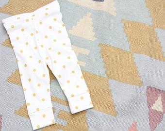 Baby Leggings, Baby Pants, Organic Gold Polka Dot Cuffed Leggings, girl leggings, Girls Clothing, kid leggings, kids, toddler leggings