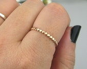 Hammered Gold Filled Beaded Stacking Ring Gold Stacking Ring Boho Ring 14k Gold Filled Bead Ring Everyday Jewelry Made to Order