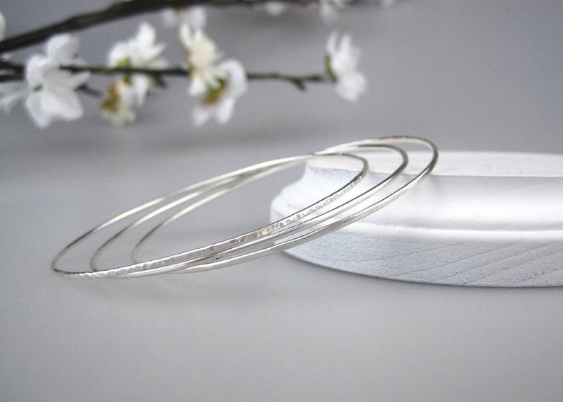 4f38d0e6358 Sterling Silver Bangle Bracelet Hammered Bangle Set Petite | Etsy