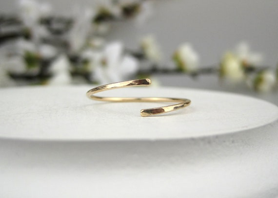 14k Yellow Gold Filled Bead Open Style Swirl Rings Set 2 Any Size Stacking Layer
