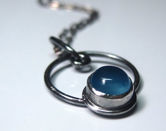 Blue Chalcedony in Oxidized Sterling Silver Circle Pendant Necklace with Hammered Clasp - Made to Order Gemstone Jewelry