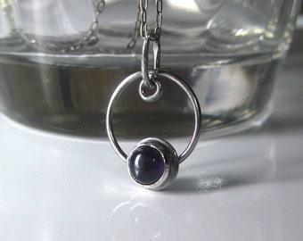 Amethyst Necklace Oxidized Sterling Silver | Purple Amethyst Circle Pendant | Boho Gemstone Necklace | February Birthstone | Made to Order