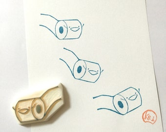 TOILET PAPER Roll Roll Roll Keep Fighting - Hand Carved Rubber Stamps/Handmade/Funny/Weird/Happy Face