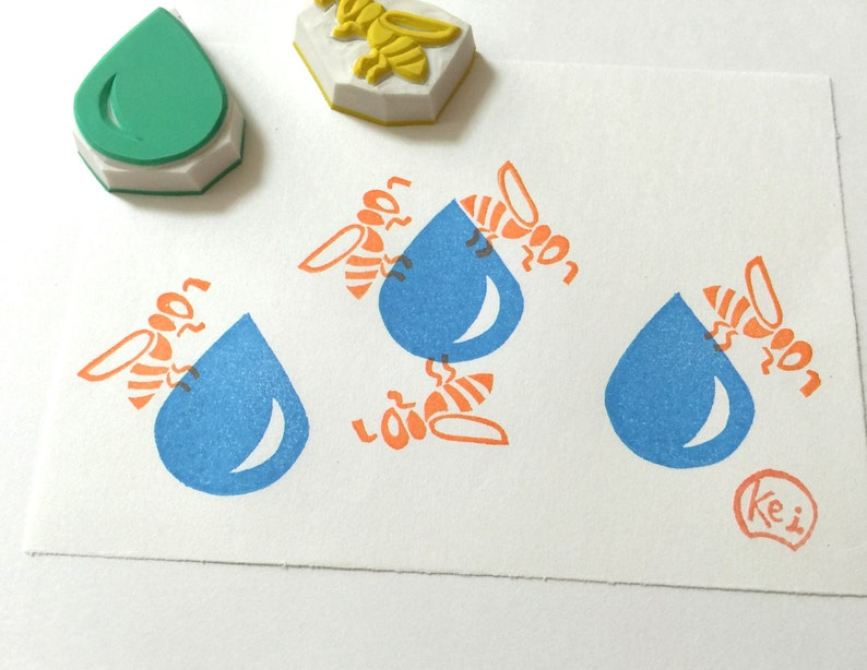 Hand Carved Rubber StampsEraser StampHandmade CraftDIY BackgroundPatternInsectHoneyFamilyWork Hard BEE With Water Drop