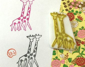 GIRAFFE TWIN - Hand Carved Rubber Stamps/Animals/Lovers/Twins