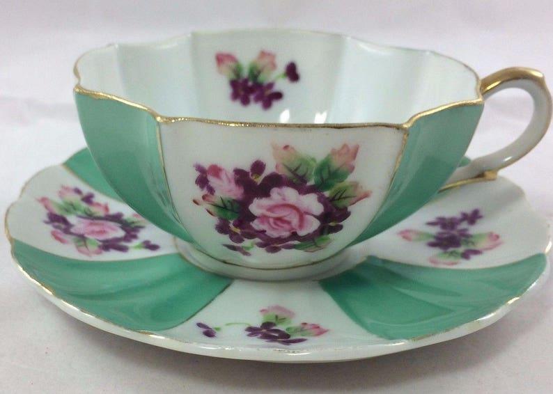 0da89816eeb Vintage MK Hand Painted Bone China Scalloped Tea Cup & Saucer   Etsy